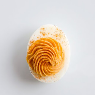 Tomato-Pimenton Deviled Eggs