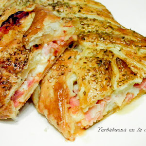 Puffed Pastry Braid Filled with Ham, Cheese, and Bacon
