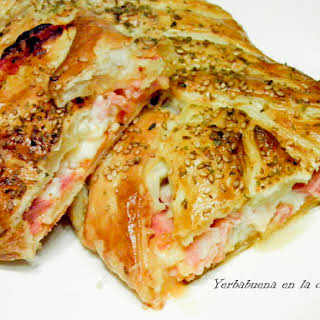 Puffed Pastry Braid Filled with Ham, Cheese, and Bacon.