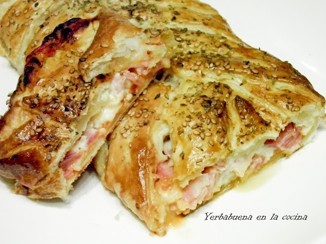 Puffed Pastry Braid Filled with Ham, Cheese, and Bacon Recipe