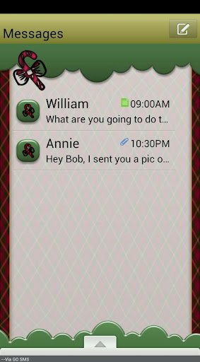 ChristmasPlaidQT GO SMS THEME
