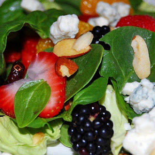 Spinach Salad with Sweet Balsamic and Blood Orange Dressing.