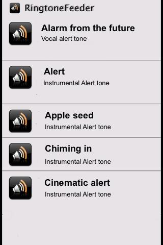 Screenshots for Alarm and Alert Tones