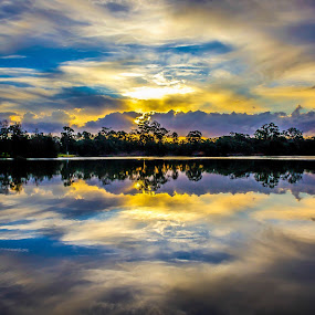 Sunset by the lake by Amro Labib - Landscapes Sunsets & Sunrises ( canon, natural light, skyline, relax, waterscape, colorful, reflections, lake, forest, fun, sunlight, landscape, sun, sky, nature, wide angle, sunset, australia, trees, long exposure, daylight, sydney )
