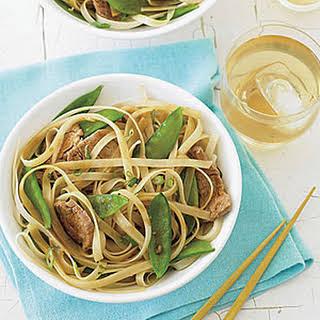 Stir-Fried Pork, Snow Peas and Rice Noodles.
