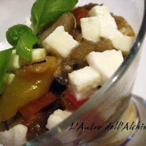 Sand-Covered Sauteed Vegetables with Mozzarella Cheese