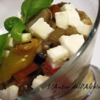 Sand-Covered Sauteed Vegetables with Mozzarella Cheese.