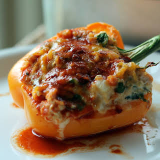 Enchilada Chicken & Quinoa Stuffed Bell Peppers.