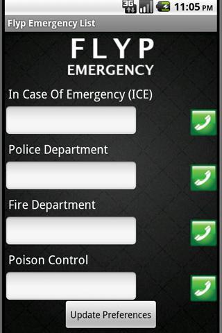Flyp Emergency List - screenshot