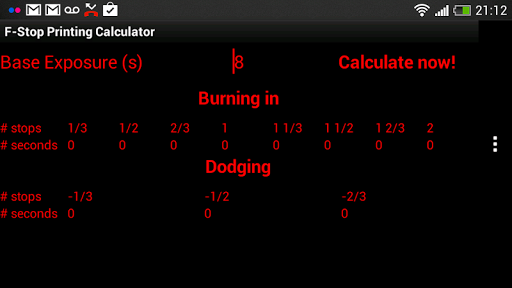 f-Stop Print Calculator