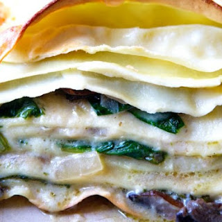 Three-Cheese Lasagna With Porcini Mushrooms And Spinach.