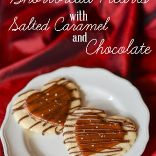Shortbread Hearts with Salted Caramel and Chocolate