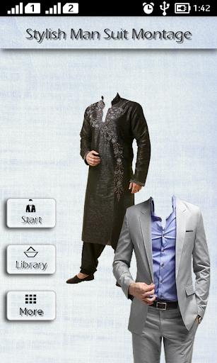 スタイリッシュな男のスーツのモンタージュ