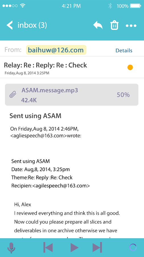 ASAM AgileSpeech Audio Mail- screenshot