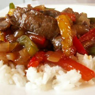 Easy Beef Pepper Steak with Rice.
