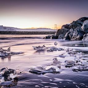 Purple ice by Kaspars Dzenis - Landscapes Beaches ( glacier, jokulsarlon, iceland, nature, ice, beach, travel, landscape )