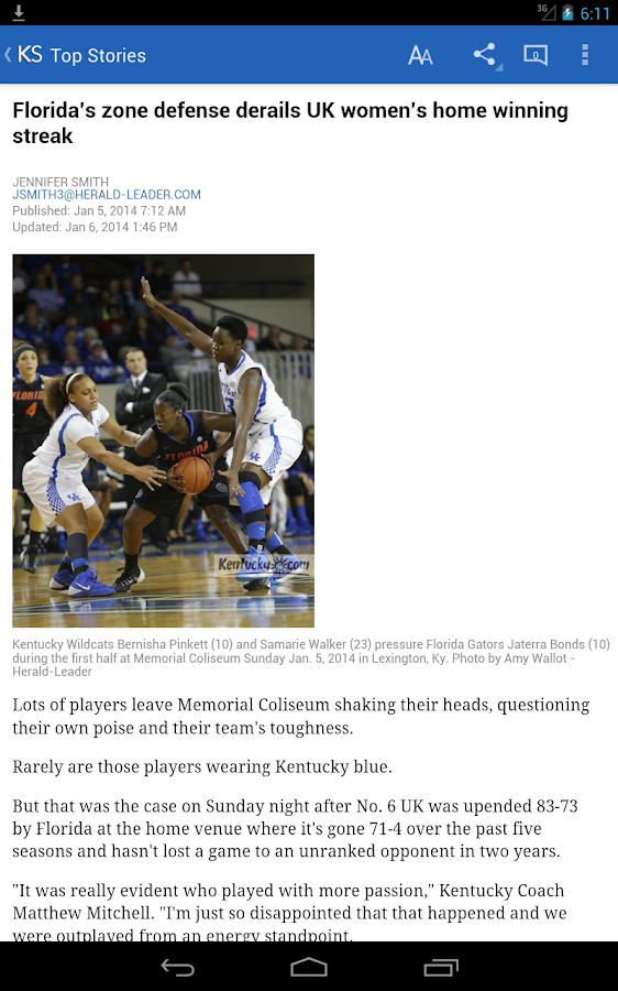 University of Kentucky Sports - screenshot