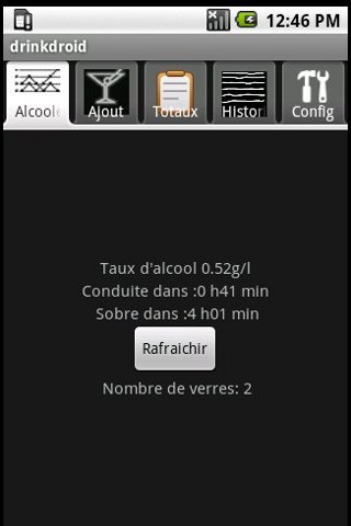 DrinkDroid BAC calculator - screenshot
