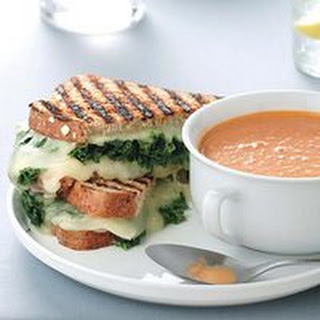 Grilled Cheese-and-Kale Sandwiches with Tomato Soup.