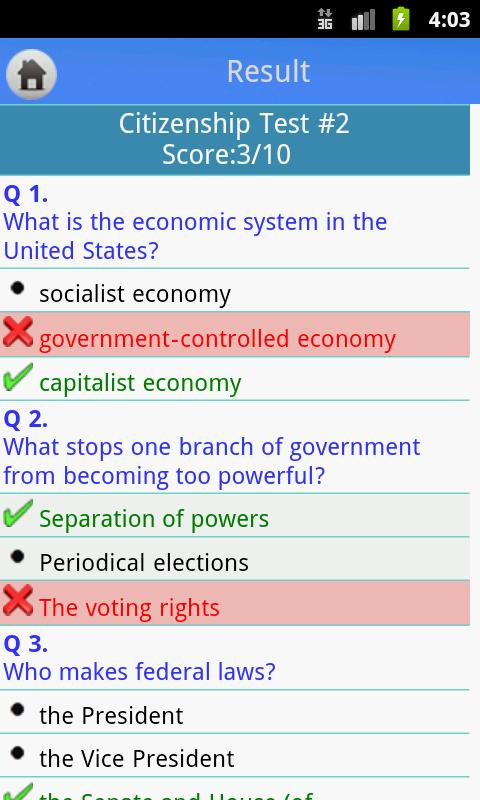US Citizenship Test - screenshot