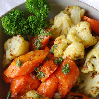 Roasted Cauliflower and Carrots in Mustard Sauce