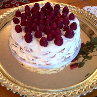 Lemon-Almond Frozen Torte with Raspberry Sauce.