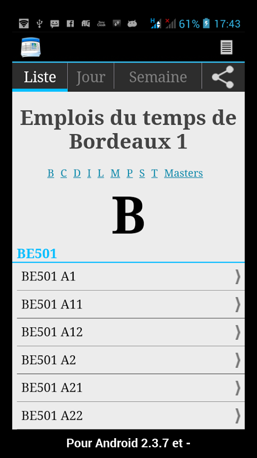 University Bordeaux Schedule- screenshot