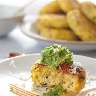 Zucchini Corn Cakes With Cheese, Salsa, And Guacamole