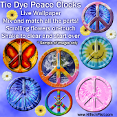Tie Dye Peace Clocks Live