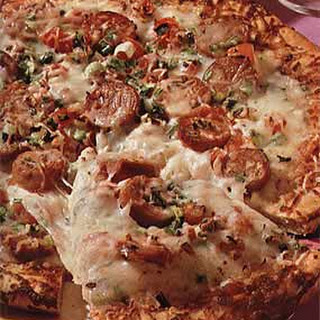 Duck Sausage Pizza with Green Onions and Tomato