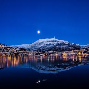 Ulriken in her sunday best by Elin Laxdal - Landscapes Mountains & Hills ( bergen, ulriken, moon, winter, nightscape, norway,  )