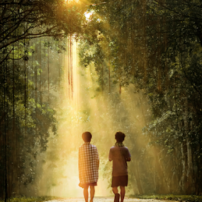 by Anton Subiyanto - People Street & Candids ( lights, candids, friendship, ray of light, human interest, children, streets, forest )