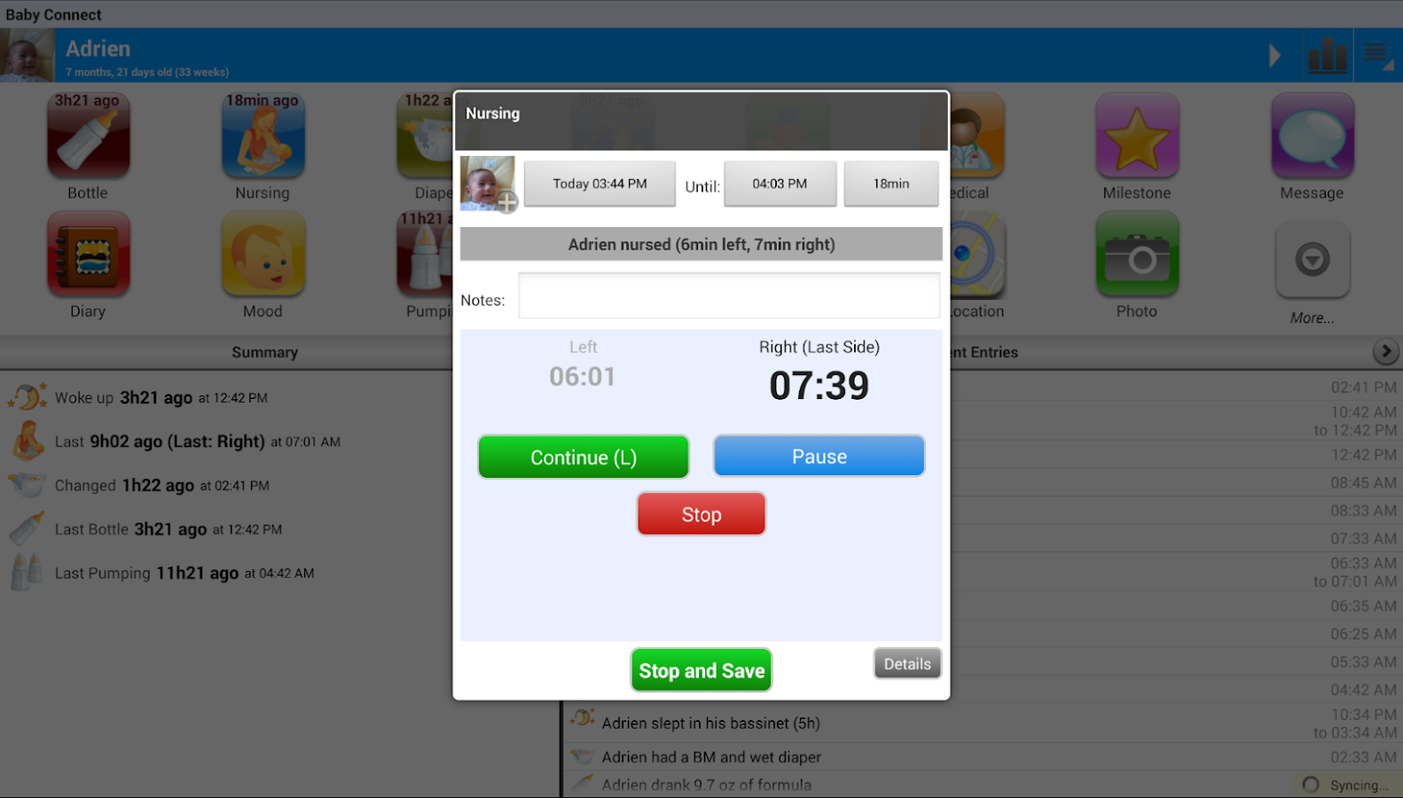 Baby Connect Trial (logger) - screenshot