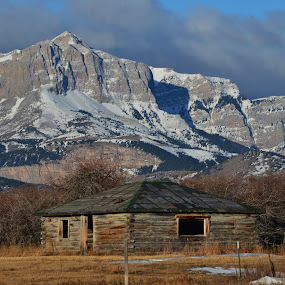 Old Man of the Hills by Don Evjen - Buildings & Architecture Decaying & Abandoned ( cabin, snow capped, mountains, cliffs, montana, rustic )