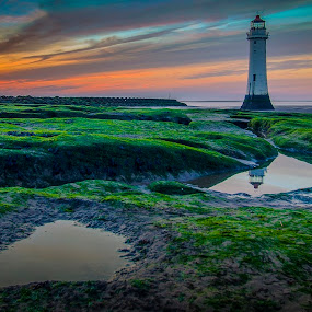 New Brighton Lighthouse, Wirral, UK by Ian Yates ヅ - Landscapes Sunsets & Sunrises ( water, lighthouse, rock, wallasey, beach, rock pool, sky, new brighton, sunset, wirral, seaweed, roclpool, rocks,  )