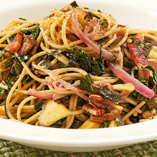 Southern-Style Spaghetti with Collards and Bacon.