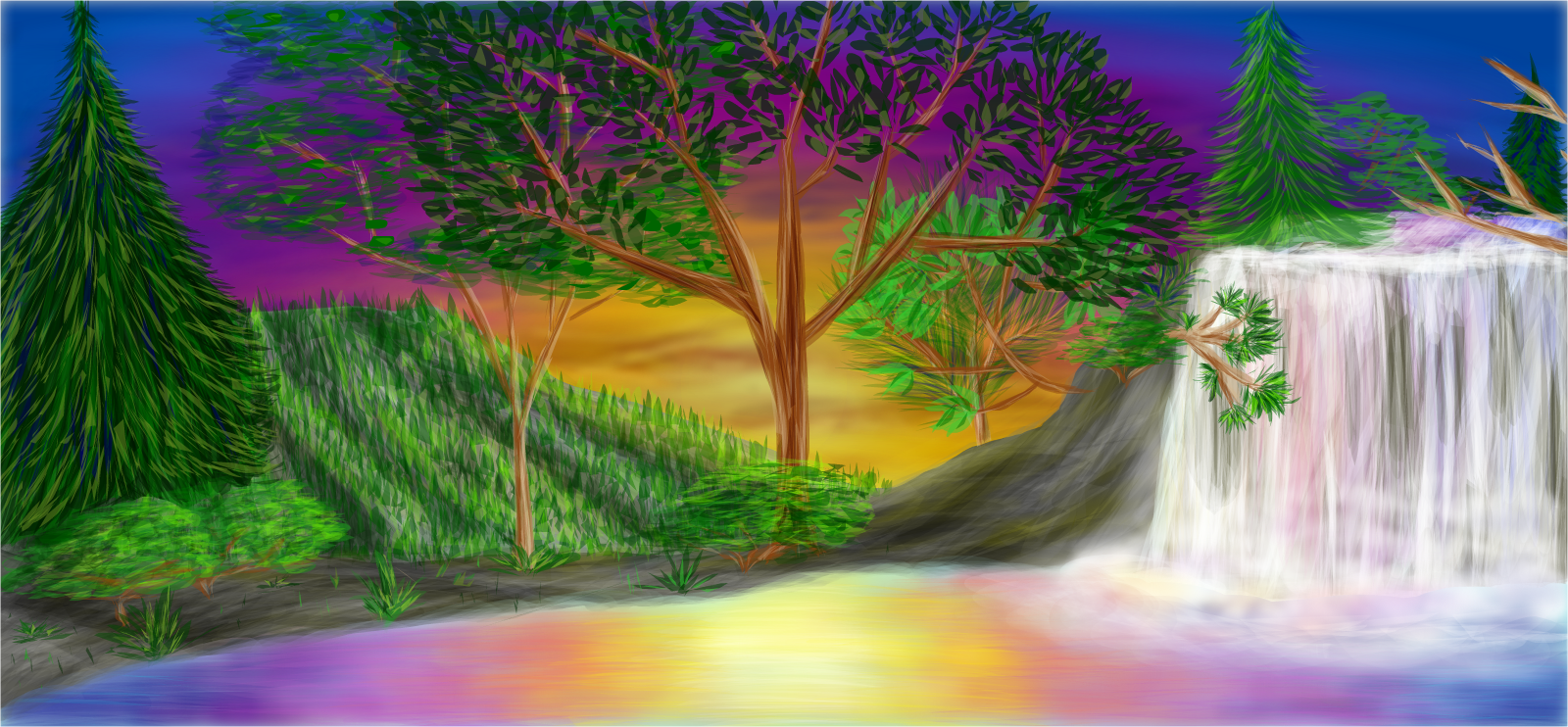 Nature Drawings With Color Jungles