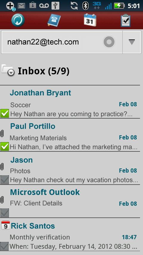 Hotmail ActiveSync Phone - screenshot
