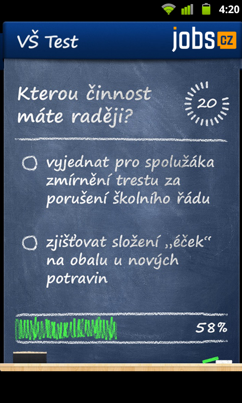 VŠ test - Na co se hodím? - screenshot