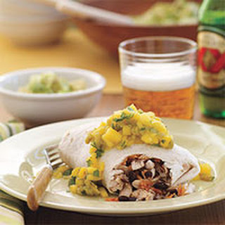 Grilled Chicken Burritos with Mango Salsa.