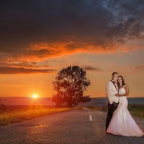 One way by Marius Igas - Wedding Bride & Groom ( wedding photography, sunset, wedding, bride, groom )