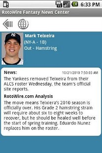 RotoWire Fantasy News Center - screenshot thumbnail