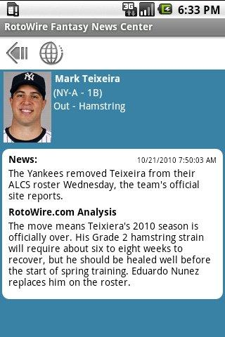 RotoWire Fantasy News Center - screenshot