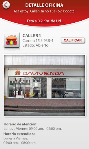Davivienda aplicación android ios pantallazo screenshot detalle oficinas