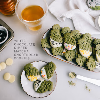 White Chocolate Dipped Matcha Shortbread Cookies.
