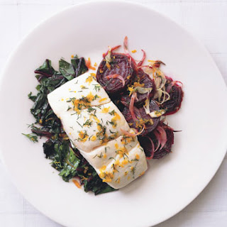 Halibut with Roasted Beets, Beet Greens, and Dill-Orange Gremolata.