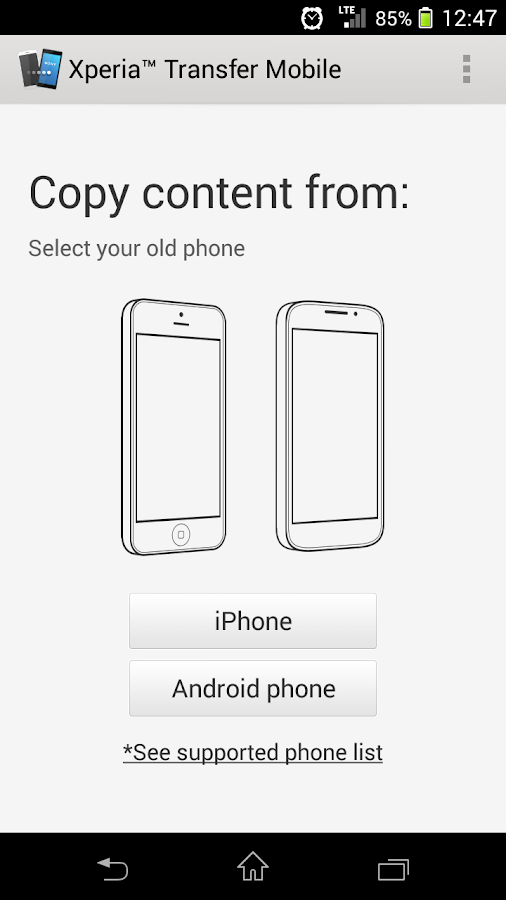 Xperia™ Transfer Mobile - screenshot