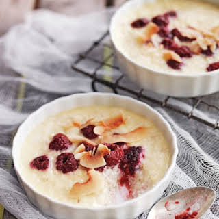 Coconut Rice Puddings with Raspberries.