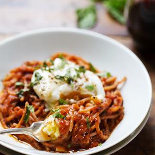 Spaghetti Marinara with Poached Eggs
