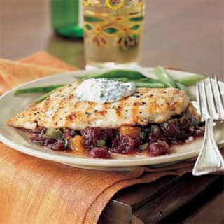 Pan-Grilled Chicken with Cranberry Salsa.